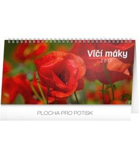 Table calendar Vlčí máky řádkový 2017