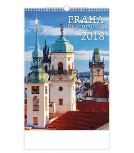 Nástěnný kalendář Praha/Prague/Prag 2018