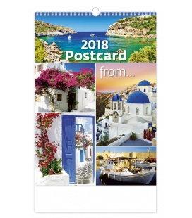 Nástěnný kalendář Postcard from... 2018