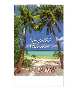 Nástěnný kalendář Tropical Beaches 2018