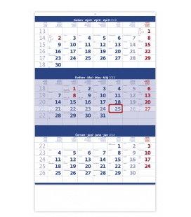 Nástěnný kalendář Tříměsíční modrý 2018