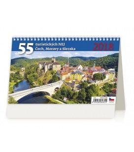 Stolní kalendář 55 turistickýh nej Čech, Moravy a Slezska 2018