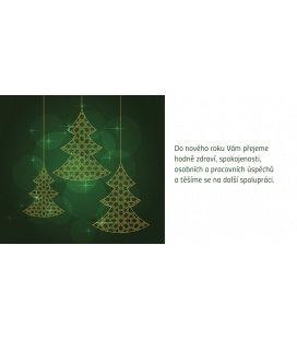 PF - karta s textem 20x10 - zelené stromečky 2018, prodej pouze po 10 ks
