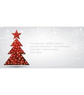 PF - karta s textem 20x10 - červený stromeček s hvězdou 2018, POUZE ZAKÁZKOVÁ VÝROBA OD 5