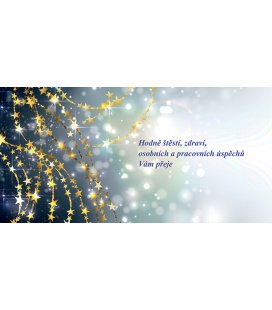 PF - karta s textem 20x10 - zlaté hvězdičky 2018, POUZE ZAKÁZKOVÁ VÝROBA OD 50ks