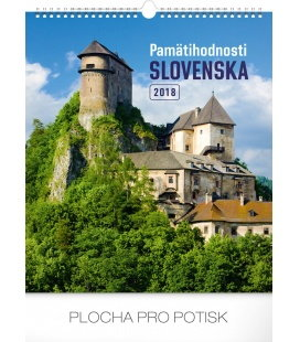 Nástěnný kalendář Pamätihodnosti Slovenska SK 2018