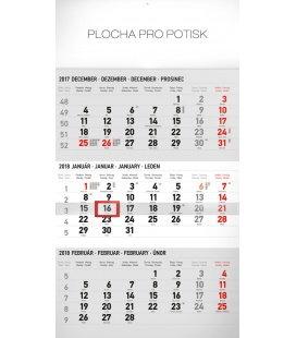 Nástěnný kalendář 3mesačný štandard šedý – so slovenskými menami SK 2018