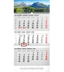 Nástěnný kalendář 3mesačný Tatry modrý – so slovenskými menami SK 2018