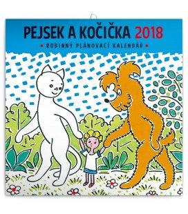 Nástěnný kalendář plánovací Pejsek a kočička 2018