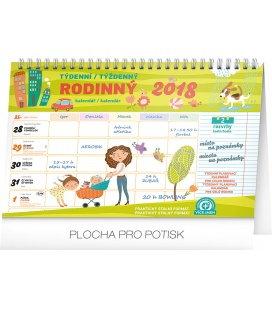 Nástěnný kalendář Rodinný plánovací kalendář s háčkem - týdenní 2018