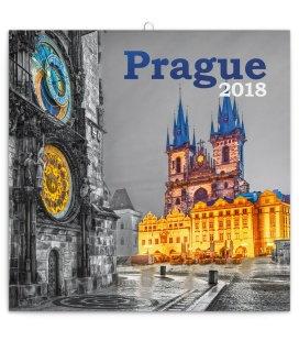 Nástěnný kalendář Praha černobílá 2018