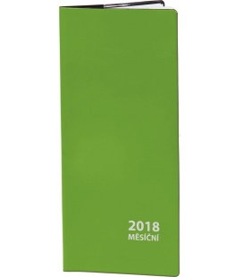 Pocket diary monthly PVC - zelený 2018