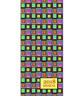 Diář kapesní měsíční lamino - Čtverce 2018