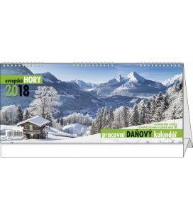 Stolní kalendář Pracovní daňový kalendář - evropské hory 2018