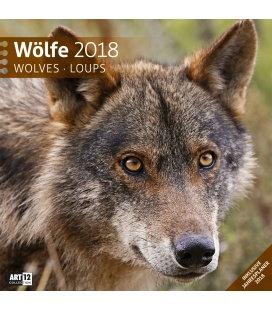 Nástěnný kalendář Vlci / Wölfe 30x30 2018
