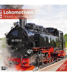 Nástěnný kalendář Lokomotivy / Lokomotiven 30x30 2018