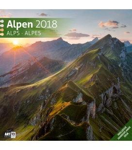Nástěnný kalendář Alpy / Alpen 30x30 2018