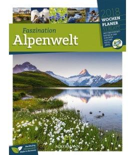 Nástěnný kalendář Alpy - týdenní plánovač / Alpenwelt 2018 - Wochenplaner