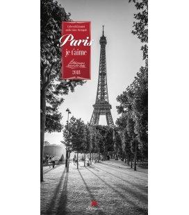 Nástěnný kalendář Paříž / Paris, je t'aime 2018