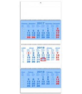 Nástěnný kalendář Tříměsíční pracovní skládaný-spirála-modrý 2018