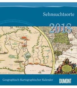 Nástěnný kalendář Mapy / Geograph.-Kartograph. Kalender:Sehnsuchtsorte 2018