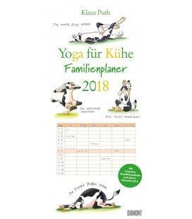 Nástěnný kalendář Rodinný plánovač Jóga s kravičkou / Familien Yoga für Kühe 2018