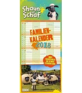 Nástěnný kalendář Rodinný plánovač Ovečka Shaun / Familien Shaun das Schaf 2018