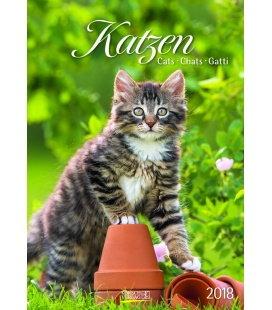 Nástěnný kalendář Kočky / Gr. farbiger Katzenkalender 2018
