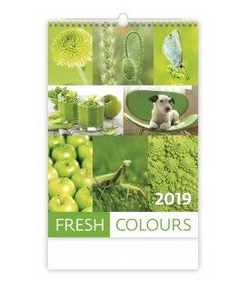 Nástěnný kalendář Fresh Colours 2019