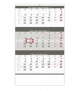 Nástěnný kalendář Tříměsíční šedý 2019