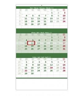 Nástěnný kalendář Tříměsíční zelený 2019