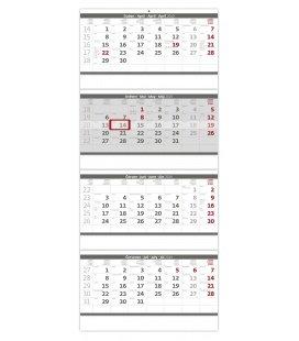 Nástěnný kalendář Čtyřměsíční skládaný šedý 2019