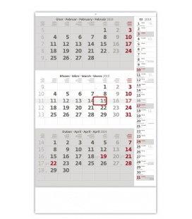 Nástěnný kalendář Tříměsíční šedý s poznámkami 2019
