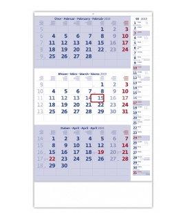 Nástěnný kalendář Tříměsíční modrý s poznámkami 2019