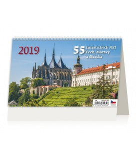 Stolní kalendář 55 turistických nej Čech, Moravy a Slezka 2019