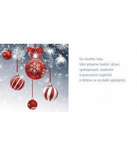 New Year's card with CZ text 20x10 - červené ozdoby 2019, orders only for 10+ pcs