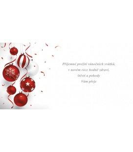 New Year's card with CZ text 20x10 - červeno-bílé ozdoby 2019, custom production of 50+ pieces
