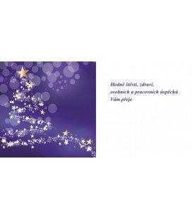 New Year's card with CZ text 20x10 - stromeček fialový podklad 2019, custom production of 50+ pieces