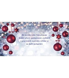 New Year's card with CZ text 20x10 - červené hvězdičky a ozdoby 2019, custom production of 50+ pieces