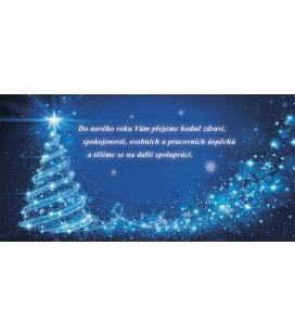 New Year's card with CZ text 20x10 - zářící modrý stromeček 2019, custom production of 50+ pieces