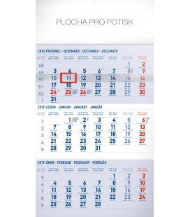 Nástěnný kalendář 3 měsíční standard modrý – s českými jmény 2019