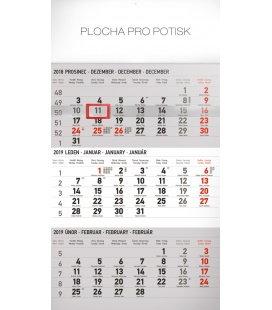 Nástěnný kalendář 3 měsíční standard šedý – s českými jmény 2019