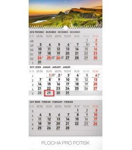Nástěnný kalendář 3 měsíční krajina šedý – s českými jmény 2019