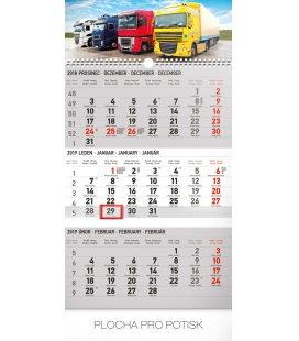 Nástěnný kalendář 3 měsíční truck šedý – s českými jmény 2019