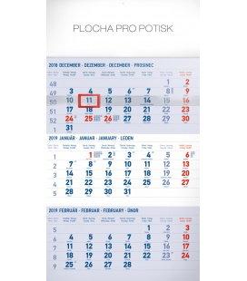 Nástěnný kalendář 3 mesačný štandard modrý – so slovenskými menami SK 2019