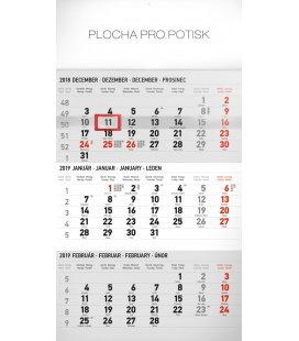 Nástěnný kalendář 3 mesačný štandard šedý – so slovenskými menami SK 2019