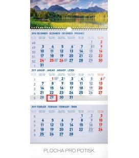 Nástěnný kalendář 3 mesačný Tatry modrý – so slovenskými menami SK 2019