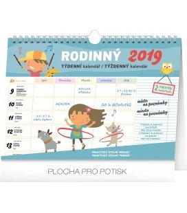 Stolní kalendář Týdenní rodinný plánovací kalendář s háčkem (nástěnný kalendář) 2019