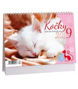 Stolní kalendář Kočky + kočičí jména 2019