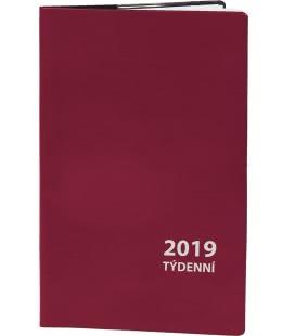 Diář kapesní čtrnáctidenní PVC - vínový 2019